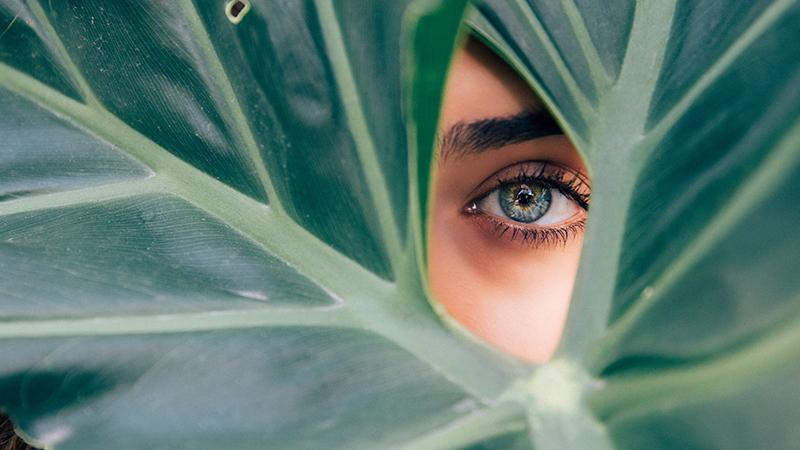 Kobieta patrzy przez dziurę w liściu