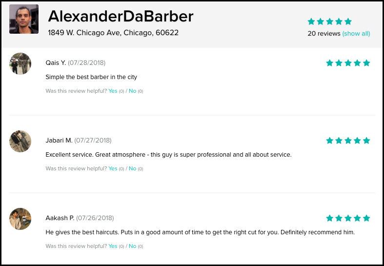 alexander the barber in chicago gets more reviews
