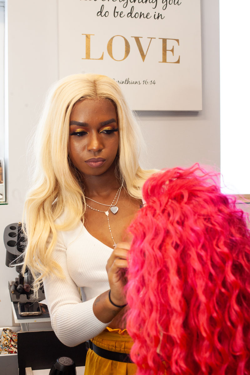 prepping Chicago weaves and a wig