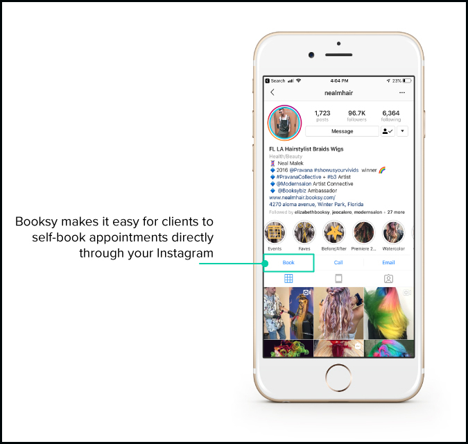 Instagram book button on Booksy client app screen