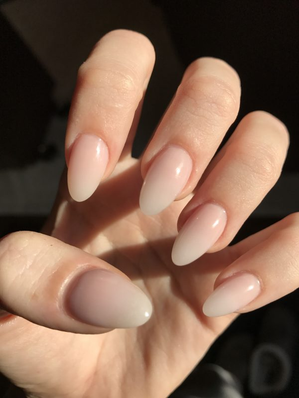 almond shape, nude ombre nails
