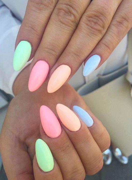 rainbow almond-shaped nails