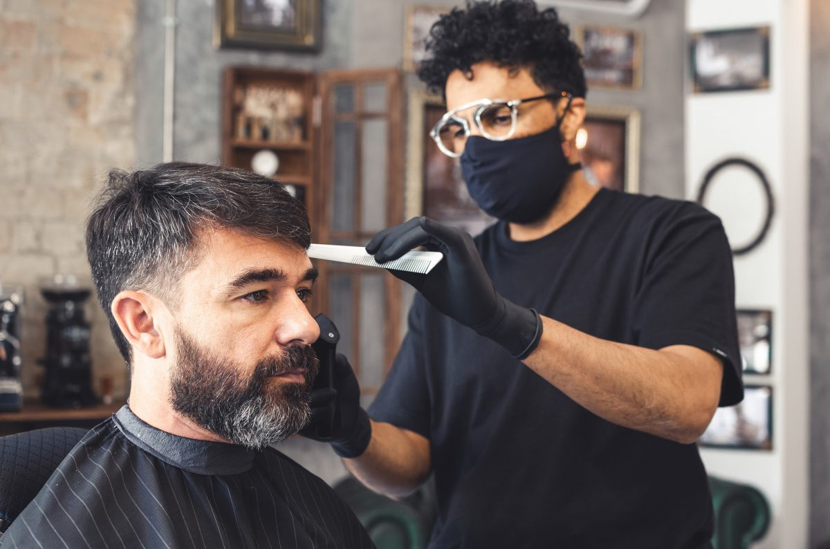 Barber with mask