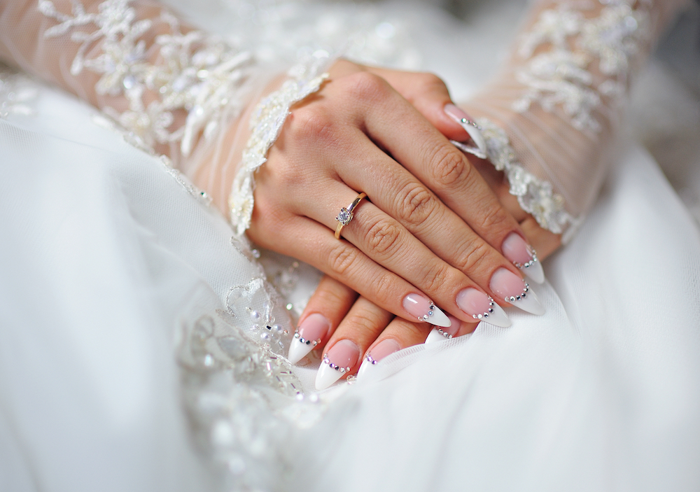 French tip bridal manicure inspiration.