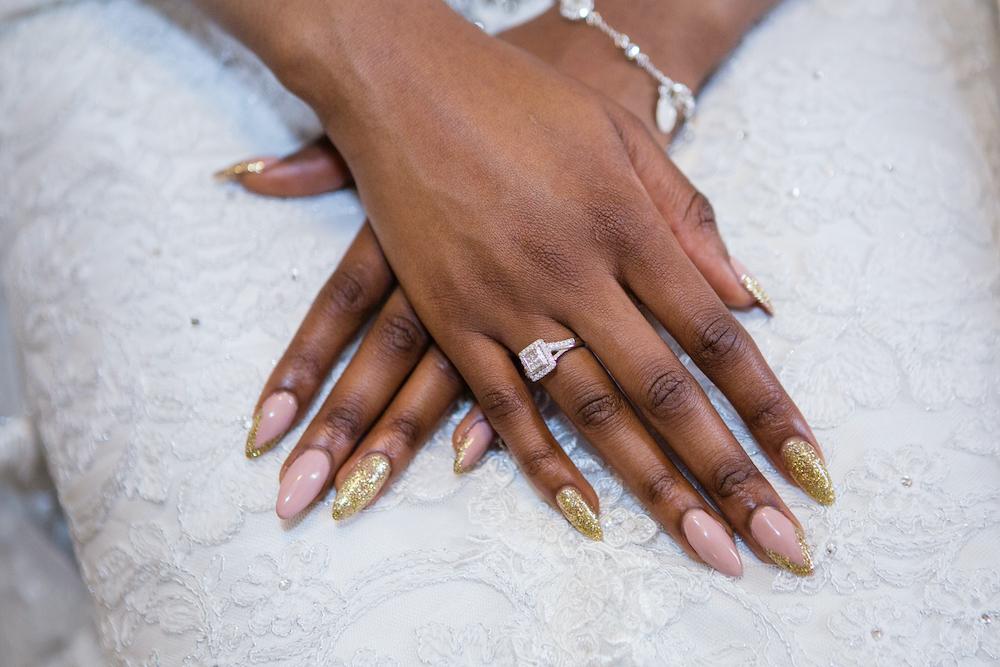 Colorful bridal manicure inspiration.