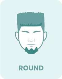 A round face shape and beard style.