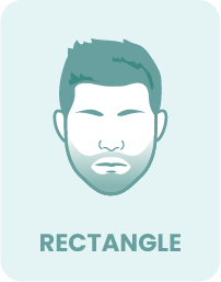 A rectangular face shape and corresponding beard.