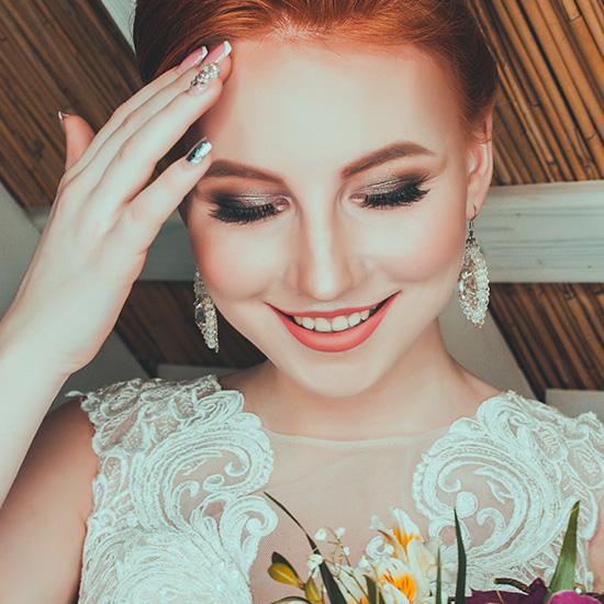 Beautiful bride with smokey eye makeup.