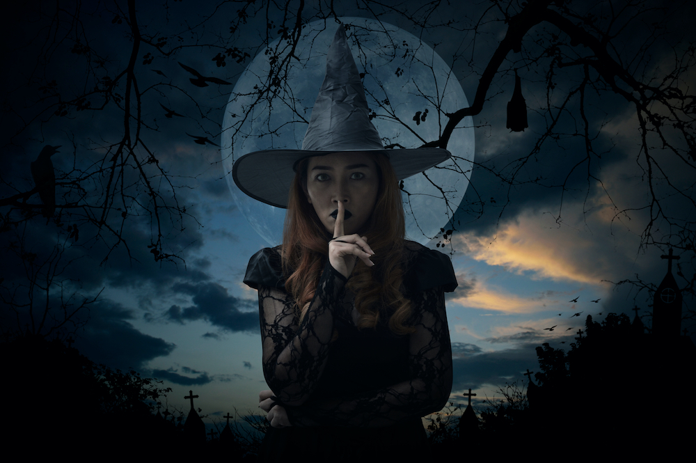 Example of witch in a pointy hat
